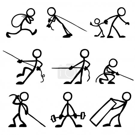 Set of stick figures pulling