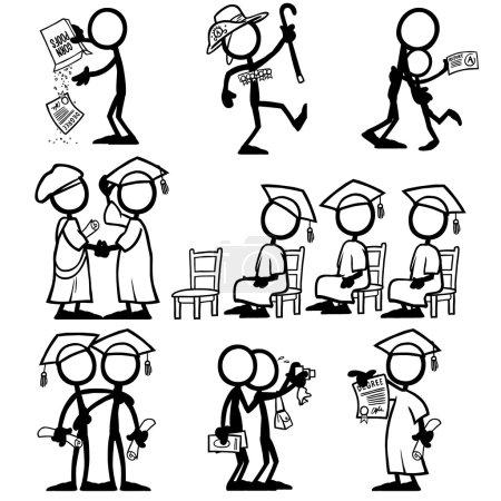 Illustration for Set of stick figures qualifications. vector illustration on white background - Royalty Free Image