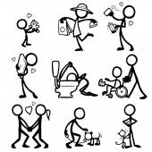 Set of stick figures relationships