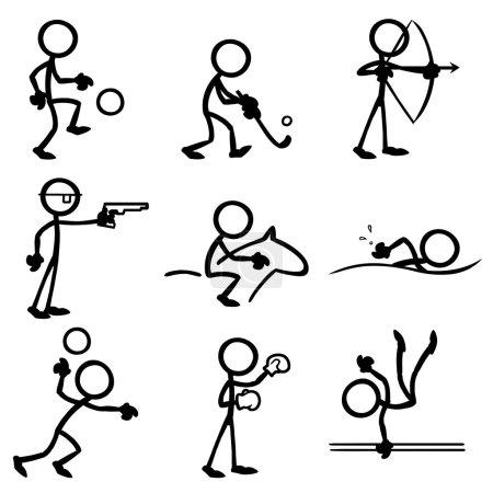 Illustration for Set of stick figures doing sports. vector illustration on white background - Royalty Free Image