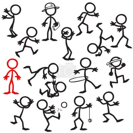 Illustration for Set of stick figures. vector illustration on white background - Royalty Free Image