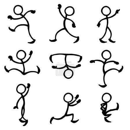 Illustration for Set of stick figures dancing. vector illustration on white background - Royalty Free Image