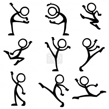 set of stick figures dancing ballet