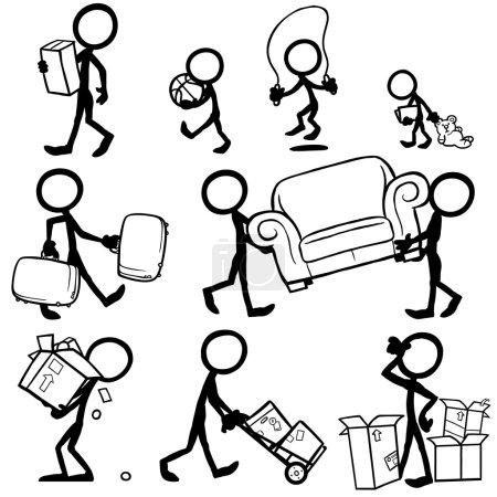 Illustration for Set of stick figures moving concept. vector illustration on white background - Royalty Free Image