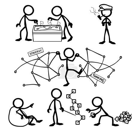 Illustration for Set of stick figures, strategic thinking. vector illustration on white background - Royalty Free Image