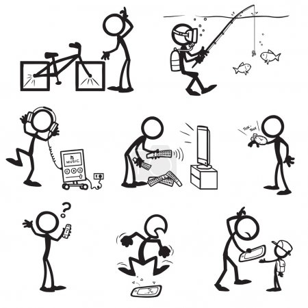 Illustration for Set of stick figures. usage of various things. vector illustration on white background - Royalty Free Image