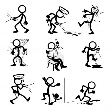 Illustration for Set of stick figures  with flashlight. vector illustration on white background - Royalty Free Image