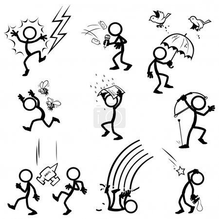 Illustration for Set of stick figures. things from sky. various items falling.  vector illustration on white background - Royalty Free Image