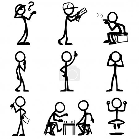 set of stick figures, thinking people