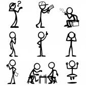 set of stick figures thinking people