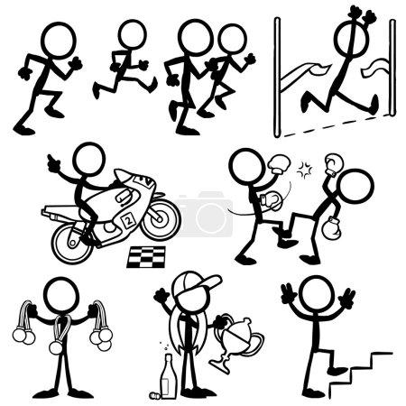 Illustration for Set of stick figures, sport, winner, victory. vector illustration on white background - Royalty Free Image