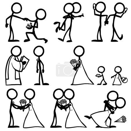 Illustration for Set of stick figures, wedding ceremony, bride, groom. vector illustration on white background - Royalty Free Image