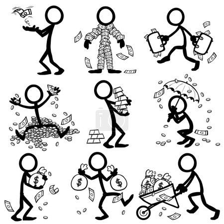 Illustration for Set of stick figures. money, wealth. vector illustration on white background - Royalty Free Image