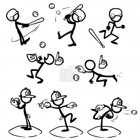 Illustration for Set of stick figures playing baseball. vector illustration on white background - Royalty Free Image