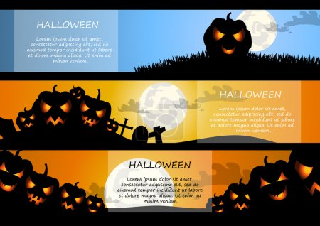 Vector : Pumpkin and moon halloween banner background