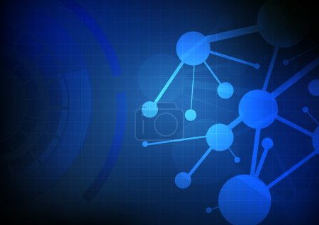 Illustration for Vector : Abstracct network circle on blue technology background - Royalty Free Image