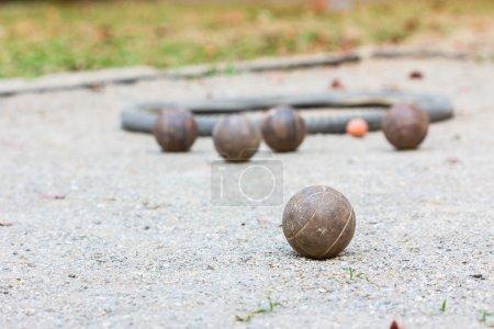 Five petanque balls