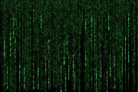 Matrixhintergrund mit den grünen Symbolen