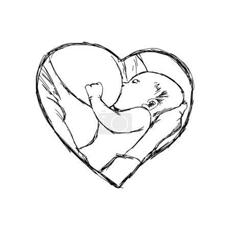 illustration vector doodle hand drawn of sketch breastfeeding ba