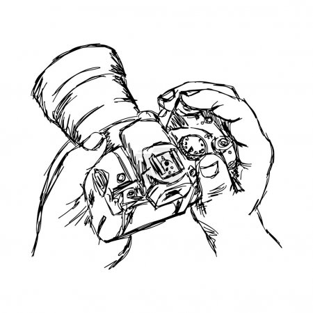 illustration vector doodle hand drawn of sketch hand holding cam