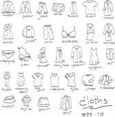 hand drawn set of cloths doodles