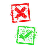 red x and green check mark grungy rubber stamp