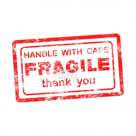 Illustration for FRAGILE  HANDLE WITH CARE thank you grungy red rubber stamp isolated on white background. - Royalty Free Image