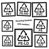 Recycling Symbols with numbers for plastic