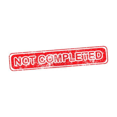Not completed red grunge rubber stamp vector illustration