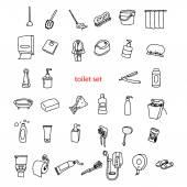 """Постер, картина, фотообои """"иллюстрации векторных рисунков рисованной объектов в наборе Туалет."""""""