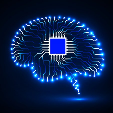 Illustration for Neon brain. Cpu. Circuit board. Abstract technology background. Vector illustration. Eps 10 - Royalty Free Image