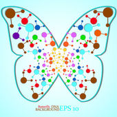 Molecule DNA along the contour butterfly Abstract background Eps10Vector illustration
