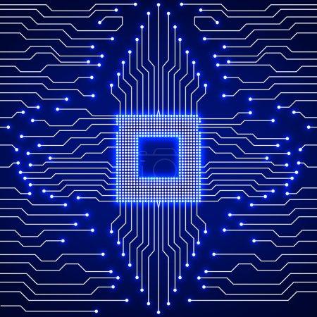 Cpu. Circuit board. Vector illustration. Eps 10