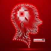 """Постер, картина, фотообои """"Неон человеческой головы. ЦП. Печатная плата. Векторные иллюстрации. EPS 10"""""""