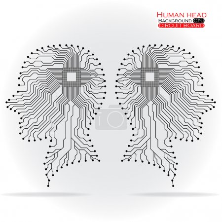 Illustration for Human head. Cpu. Circuit board. Vector illustration. Eps 10 - Royalty Free Image