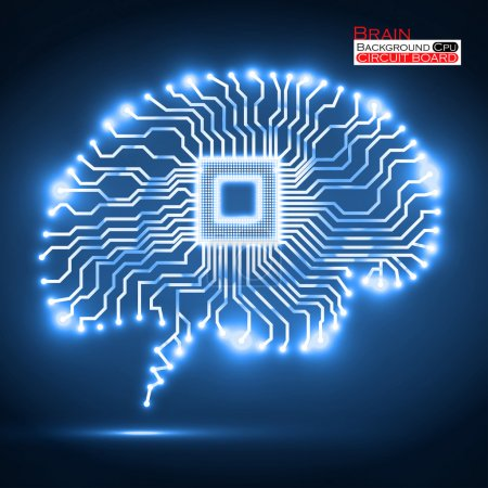 Illustration for Neon brain. Cpu. Circuit board. Vector illustration. Eps 10 - Royalty Free Image