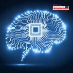 Neon brain. Cpu. Circuit board. Vector illustratio...