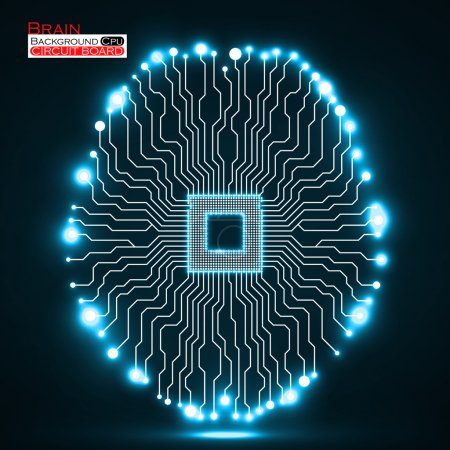 Neon brain. Cpu. Circuit board. Abstract technology background. Vector illustration. Eps 10