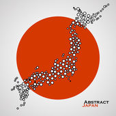 Abstract map of Japan from colorful circles Vector illustration Eps 10
