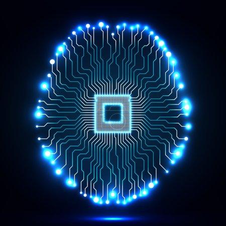 Illustration pour Cerveau néon. Cpu. Circuit. Contexte technologique abstrait. Illustration vectorielle. Eps 10 - image libre de droit