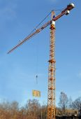 Lifting the tower crane moves freight