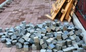 Pile of bricks and pieces of scaffolding
