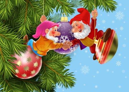 Christmas gnomes decorate the Christmas tree