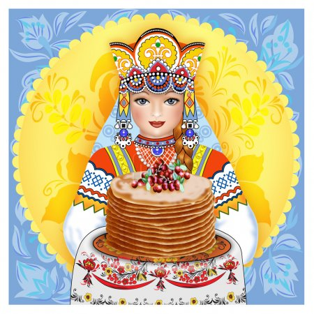 Russian girl in dress with pancakes on a towel