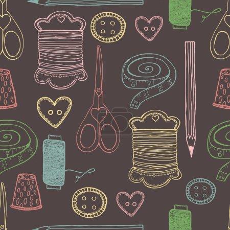 Sewing pattern seamless illustration