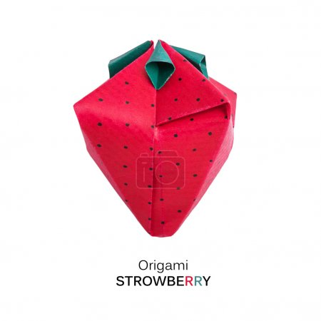 Photo for Origami sweet paper cartoon organic healthy red isolated strawberry on a white background - Royalty Free Image
