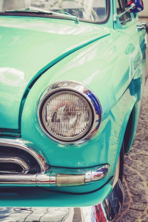 Photo for Antique vintage retro blue automobile bumper car front light - Royalty Free Image