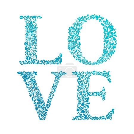Illustration pour Mot «love» avec motif floral, vector - image libre de droit