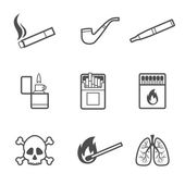 Smoking vector line style icons set 9 elements