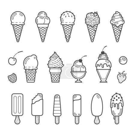 Illustration pour Ensemble d'icônes vectorielles de glace délicieuse. Collection de différentes saveurs et sortes - image libre de droit